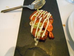 tandoori bacon prawns, wasabi malai cream